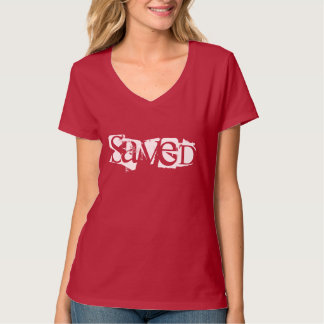 Womens' Christian V-Neck Top-Saved in Red T-Shirt