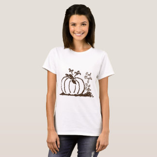 Women's Coffee Bean Pumpkin Graphic Basic T-Shirt