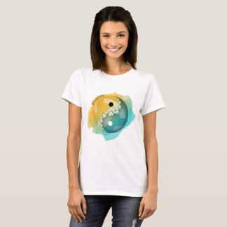 Women's colour splash yin and yang volleyball T-Shirt