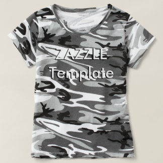 Women's Custom Camouflage T-Shirt Blank Template