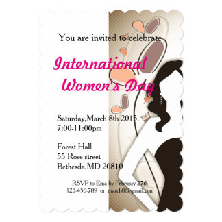 """Women's day with lady in black dress 5"""" x 7"""" invitation card"""