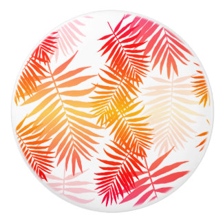 Women's Decor Palm Tree Leaf In Sunset Colors Ceramic Knob