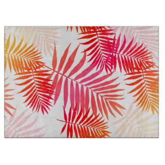 Women's Decor Palm Tree Leaf In Sunset Colors Cutting Board
