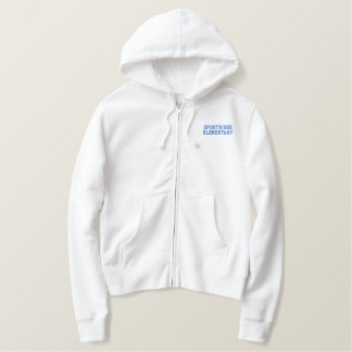 Women's Embroidered Zip Hoodie (White)