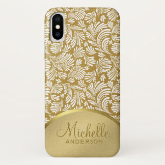 Women's Faux Gold Metallic Floral Abstract Pattern iPhone X Case
