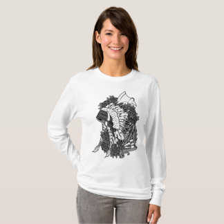 Womens fine Jersey t-shirt Indian Head dress B&W