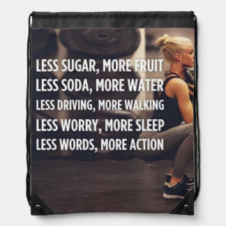 Women's Fitness Inspirational Words - More Action Drawstring Bag