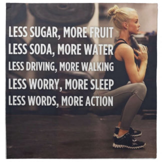 Women's Fitness Inspirational Words - More Action Napkin