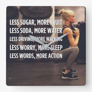 Women's Fitness Inspirational Words - More Action Square Wall Clock