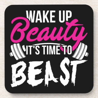 Women's Fitness - Wake Up Beauty, Time To Beast Coaster
