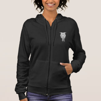 Women's Fleece Zip Hoodie, White Totem Logo Hoodie