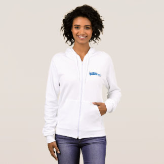 Women's Fleece Zip Hoodie, White with Blue Logo Hoodie