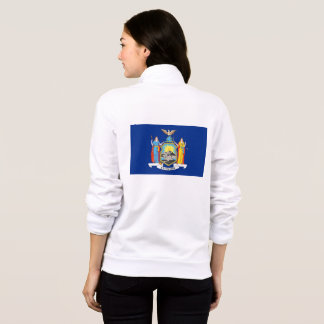 Women's  Fleece Zip Jogger flag of New York, USA