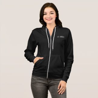 Women's Full Zip Hoodie with White Lettering