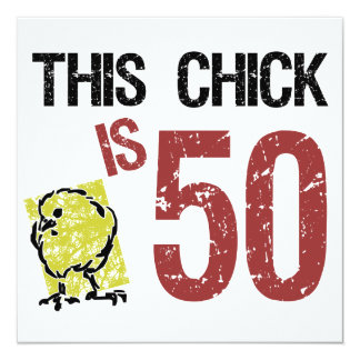 """Women's Funny 50th Birthday 5.25"""" Square Invitation Card"""