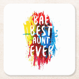 Womens Funny BAE  Best Auntie Ever Mom Mothers Square Paper Coaster
