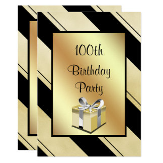 """Women's Gold & Black Stripped """"Any Age"""" Birthday Card"""