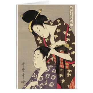 Womens Hairdressing Utamaro Yuyudo Ukiyo-e Art Card