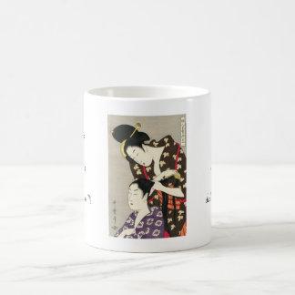 Womens hairdressing Utamaro Yuyudo ukiyo-e art Basic White Mug