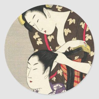 Womens hairdressing Utamaro Yuyudo ukiyo-e art Round Sticker