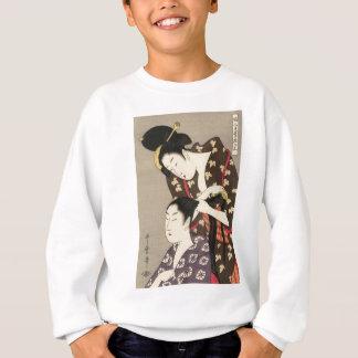 Womens Hairdressing Utamaro Yuyudo Ukiyo-e Art Sweatshirt