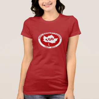 Womens Happy Birthday Canada Tshirt (white on red)