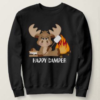 Womens Happy Camper Moose sweatshirt