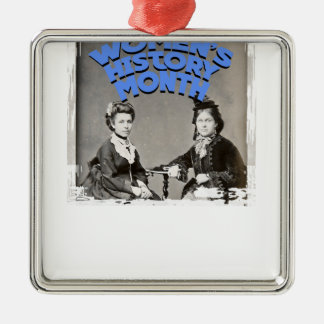 Women's History Month Silver-Colored Square Ornament