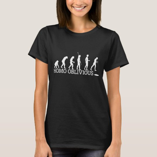 Women's Homo Oblivious T-shirt on dark.