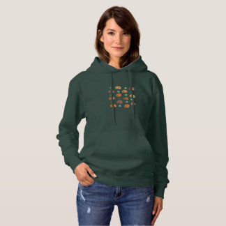 Women's hooded sweatshirt with pumpkins and leaves