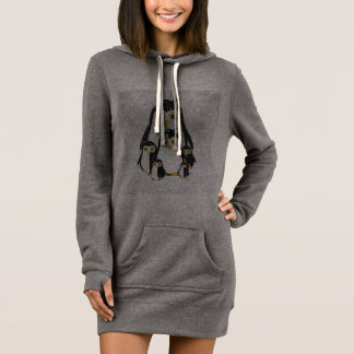 Women's Hoodie Dress with funny Penguins
