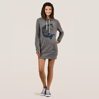 Women's Hoodie Dress YACF Blue Moon
