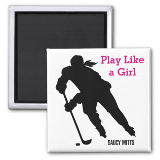 Women's Ice Hockey Player Sihlouette Square Magnet