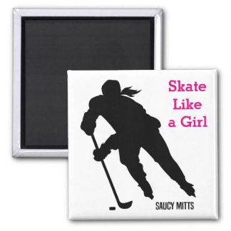 Women's Ice Hockey Player Skate Like a Girl Square Magnet