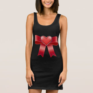 Women's Jersey Tank Dress Black, Red bow & heart