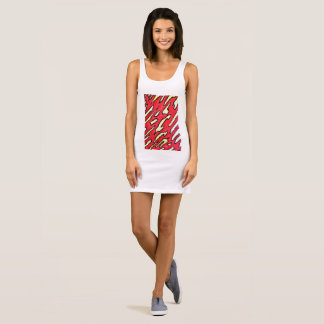 Women's jersey tank dress on front abstract image.