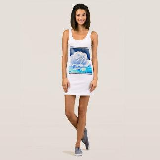 """Women's Jersey Tank Dress """"White Rose in Blue"""""""