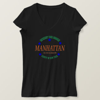 Women's Jersey V-neck Blk T-shirt w/Manhattan logo