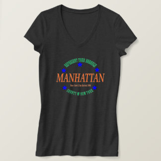 Women's Jersey V-neck Dk Heather w/Manhattan logo T-Shirt