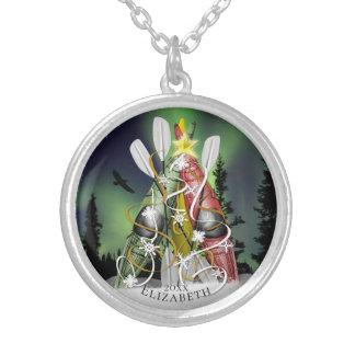 Women's Kayak Christmas Tree Aurora Borealis Silver Plated Necklace