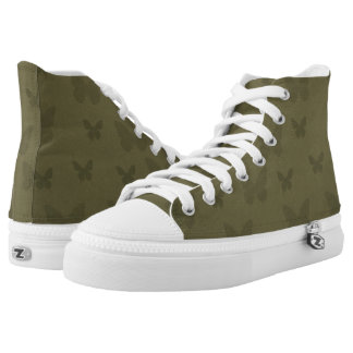 Womens Khaki Trainers High Tops With Pattern