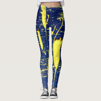 Women's Leggings Blue & Yellow Paint Spattered