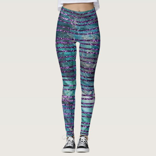 Womens Leggings Green Marble And Purple Glitter