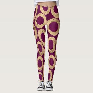 Women's Leggings in Plum and Gold Foil