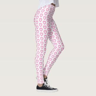 Women's Leggings-Pink Ribbon Heart Leggings
