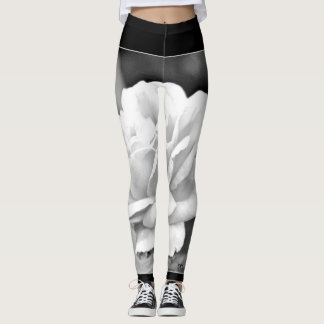 "Women's Leggings ""White Rose in Black"""