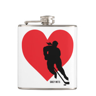 Women's Love Heart Hockey Player Hip Flask