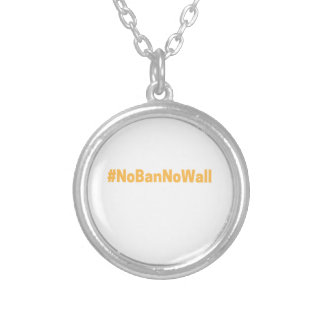 Women's March #NoBanNoWall Silver Plated Necklace