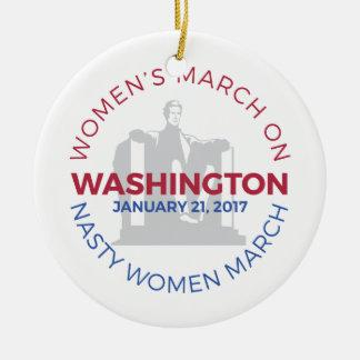 Women's March on Washington - Nasty Woman March Ceramic Ornament