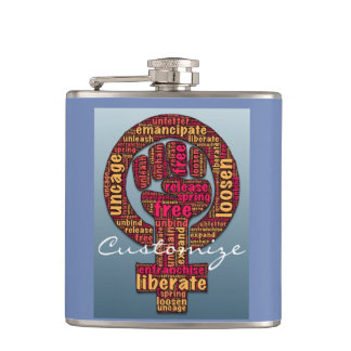 women's march raised fist 2017 hip flask